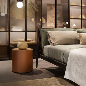 contemporary bedside table / lacquered wood / oak / marble