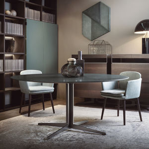 contemporary dining table / marble / metal base / round