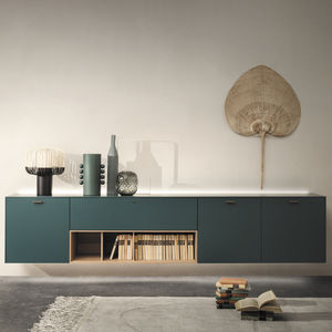 wall-mounted sideboard / contemporary / wooden / glass