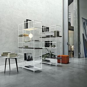 contemporary shelf / lacquered metal / melamine