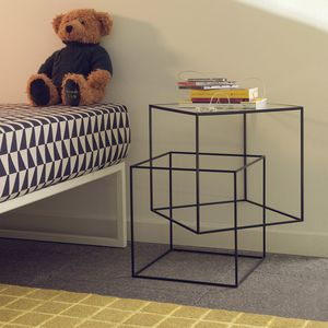 contemporary side table / glass / iron / metal base