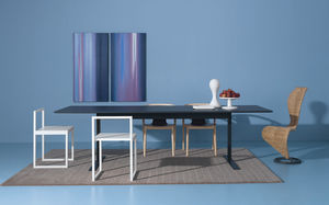 contemporary dining table / lacquered MDF / lacquered metal / metal base