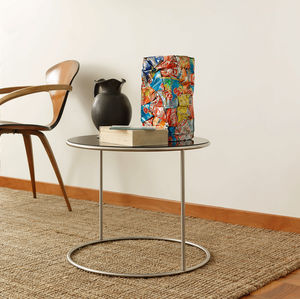 contemporary side table / lacquered wood / stainless steel / stainless steel base
