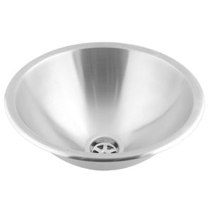 integrated hand basin / round / stainless steel / commercial
