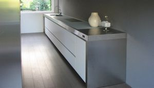 contemporary kitchen / stainless steel / island / lacquered