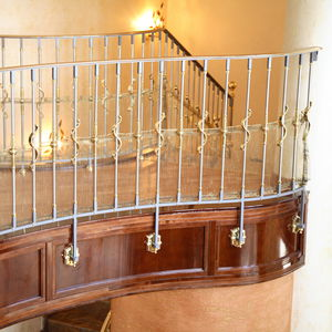 stainless steel railing / brass / with bars / indoor