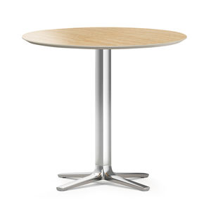 contemporary table / HPL / metal base / round