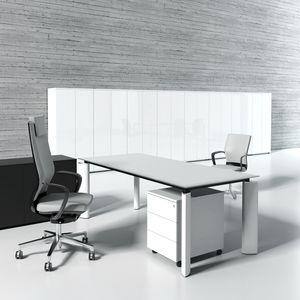 executive desk / metal / glass / contemporary