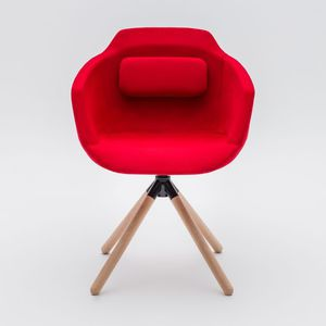 contemporary visitor chair / with armrests / upholstered / star base