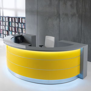 modular reception desk / semicircular / laminate / glass
