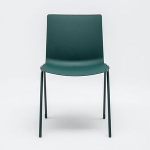 contemporary chair / stacking / powder-coated steel / commercial