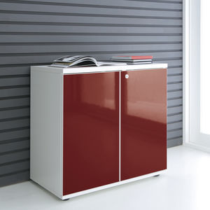 low filing cabinet / tall / laminate / with hinged door