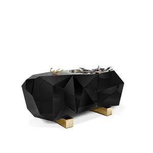 original design sideboard / wooden / brass / black