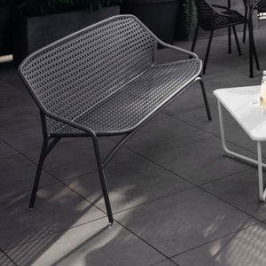 garden bench / contemporary / aluminum / with backrest