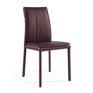 contemporary chair / upholstered / leather / brown