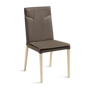 contemporary chair / upholstered / leather / wooden