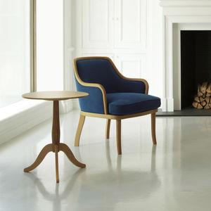 contemporary side table / oak / Corian® / oak base