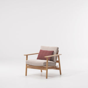 contemporary armchair / fabric / teak / with removable cushion