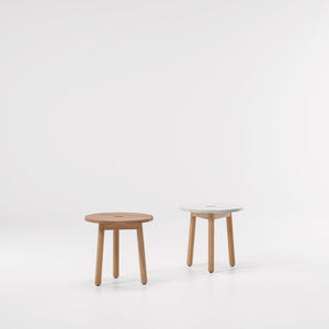 contemporary side table / teak / marble / round