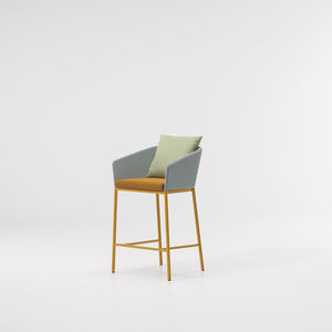 contemporary bar chair / with armrests / aluminum / polyester