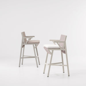 contemporary bar chair / with armrests / fabric / aluminum