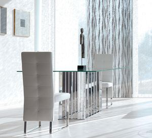 contemporary table / glass / marble / chromed metal base