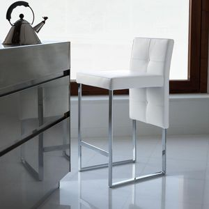 contemporary bar chair / upholstered / with footrest / sled base