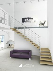 quarter-turn staircase / metal frame / wooden steps / without risers