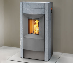 pellet heating stove / steel / natural stone / contemporary