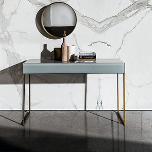 contemporary sideboard table / curved glass / lacquered glass / lacquered metal base