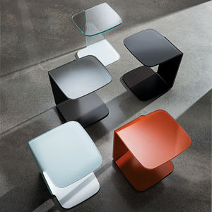 contemporary side table / lacquered glass / curved glass / rectangular