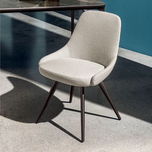 contemporary chair / upholstered / with armrests / velvet