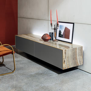 wall-mounted sideboard / contemporary / glass / marble