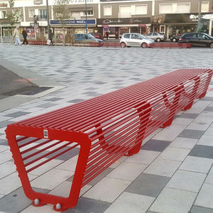 public bench / contemporary / painted steel / modular