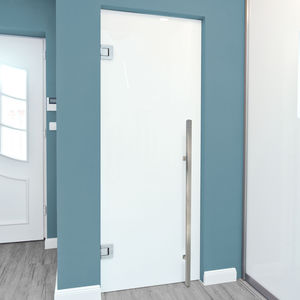 door pull handle / polished stainless steel / contemporary / satin finish