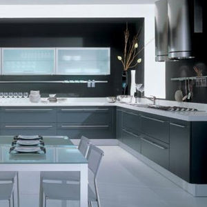 contemporary kitchen / glass / laminate / lacquered