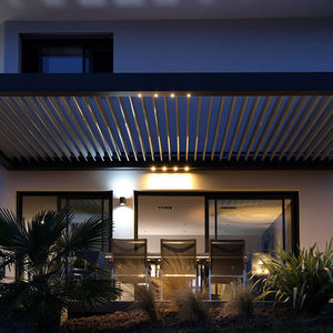 self-supporting pergola / wall-mounted / wooden / wooden canopy