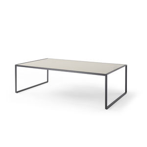 contemporary coffee table / leather / Macassar ebony / stainless steel base