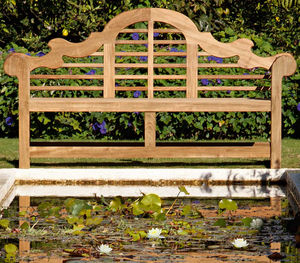 garden bench / traditional / teak / with backrest