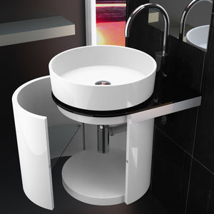 wall-hung washbasin cabinet / lacquered wood / contemporary / with shelves
