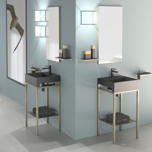 free-standing washbasin cabinet / metal / VetroFreddo® / contemporary
