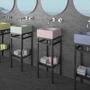 free-standing washbasin cabinet / painted steel / VetroFreddo® / contemporary