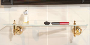 wall-mounted shelf / traditional / brass / crystal