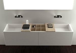 double washbasin / built-in / rectangular / Corian®