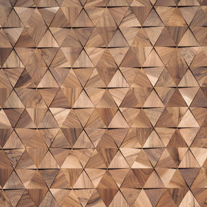 wooden wall cladding panel / indoor / 3D / natural finish
