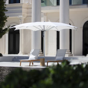 commercial parasol / fabric / stainless steel / anodized aluminum