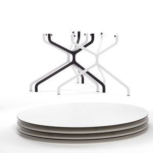 contemporary table / steel / HPL / steel base