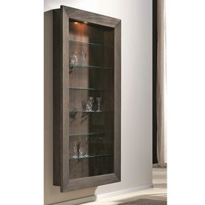 contemporary display case / wall-mounted / glass / walnut
