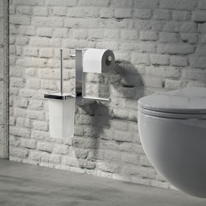 wall-mounted toilet roll holder / brass / glass / double roll