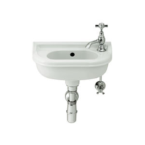 wall-mounted hand basin / rectangular / porcelain / home
